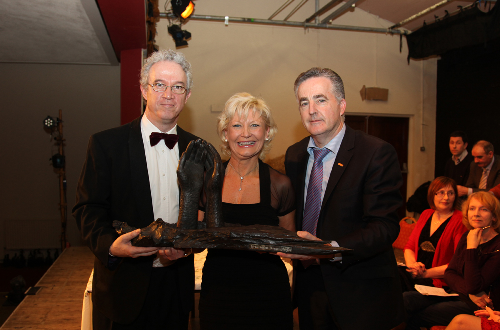 Patricia Keane receives the Blue Riband at the Kiltyclother Drama Festival