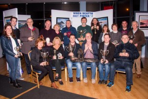 Ballyshannon Drama Society displaying trophies received on the circuit for 'Old Times'.