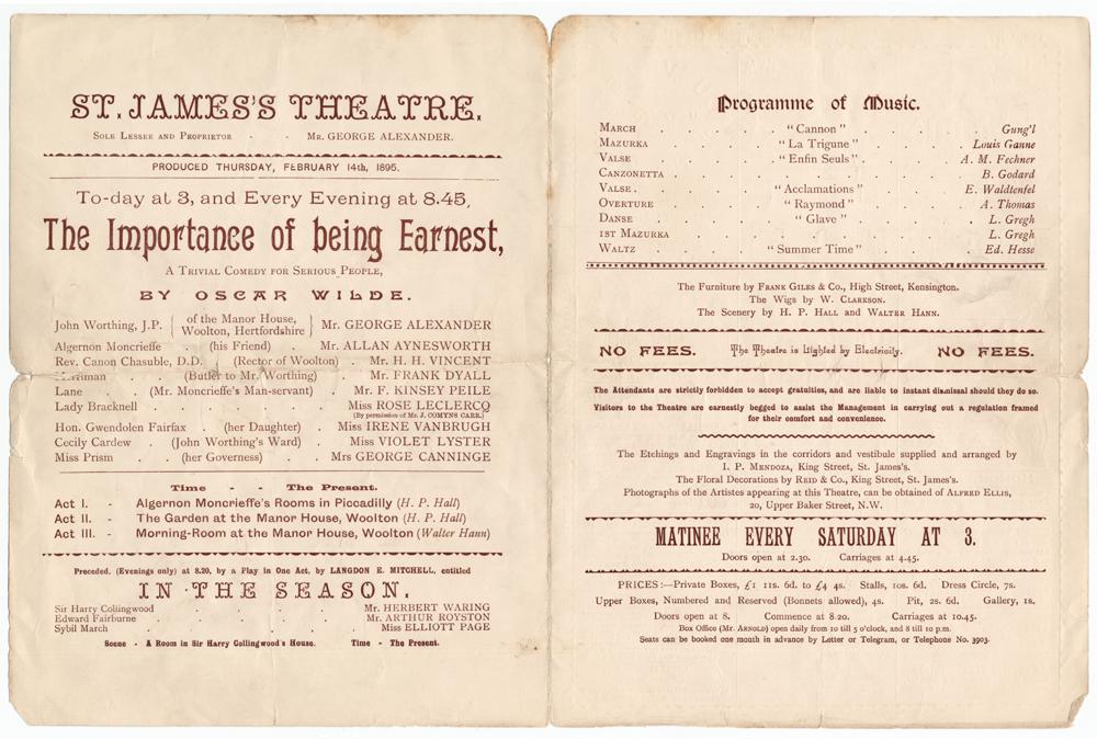 Importance 1895 Playbill